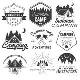 Vector set of camping labels in vintage style. Design elements isolated on white background. Camp outdoor adventure Royalty Free Stock Photography