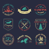 Vector set of camping logos. Tourism emblems or badges. Signs collection of outdoor adventures with Indian elements. Royalty Free Stock Photography