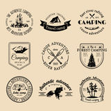 Vector set of camping logos. Tourism emblems or badges. Signs collection of outdoor adventures with Indian elements. royalty free illustration