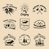 Vector set of camping logos. Tourism emblems or badges. Signs collection of outdoor adventures with Indian elements. Vector set of vintage camping logos Royalty Free Stock Photos