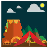 Vector set Camping Mountain forest fire ground tents Royalty Free Stock Photography