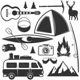 Vector set of camping objects isolated on white background. Travel icons and emblems. Adventure outdoor labels. Mountains, tent, car, rafting, fire Royalty Free Stock Photos