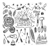 Vector set of camping vintage elements. Rustic natures vector elements. royalty free illustration