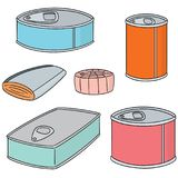 Vector set of canned fish. Hand drawn cartoon, doodle illustration Royalty Free Stock Photos