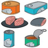 Vector set of canned fish. Hand drawn cartoon, doodle illustration Royalty Free Stock Images