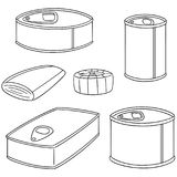 Vector set of canned fish. Hand drawn cartoon, doodle illustration Stock Images
