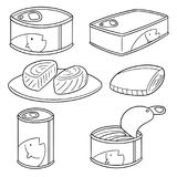 Vector set of canned fish. Hand drawn cartoon, doodle illustration Royalty Free Stock Photography