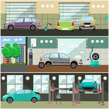 Vector set of car service station, repair shop interior banners Stock Photography