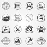 Vector set of car service symbols and badges Royalty Free Stock Photo