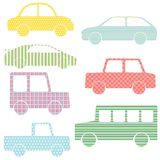 Collection of car silhouettes with simple patterns Stock Images