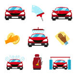 Vector set of car washing flat icons Stock Image