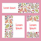 Vector set: cards/banners in romantic style Royalty Free Stock Photo