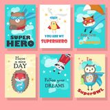 Vector set of cards with cute superhero animals royalty free illustration