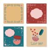 Vector set of cards with frames and labels. For valentine`s day and other holidays stock illustration