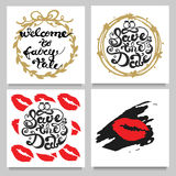 Vector set of cards with lipstic kisses , frames, stripes, dots. Red, Golden,Black, White. Stock Image