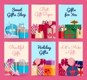 Vector set of cards with piles of gift boxes with place for text stock illustration