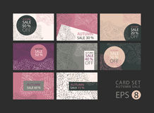 Vector set of cards on sale, discount, concept, pastel, abstract backgrounds, promotional flyers, coupons. Mocap Stock Image