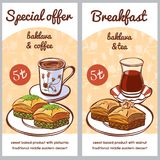 Vector set of cards for special menu offer of turkish dessert baklava. Vector card templates with traditional turkish dessert Baklava with hot beverages - coffee royalty free illustration