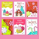 Vector set of cards with sweet candies royalty free illustration
