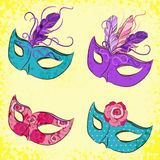 Vector set with carnival mask Royalty Free Stock Photography