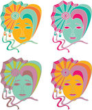 Vector set of carnival mask on a white background Stock Photos