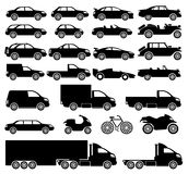 Vector set. Cars. Vector set. 25 black icons. Cars Royalty Free Stock Photography