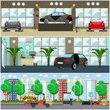 Vector set of cars concept posters, banners in flat style Stock Photography