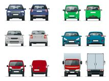 Vector set cars front and rear view. Sedan, off-road, compact, cargo truck, blank delivery minivan vehicles. Template. Vector isolated on white royalty free illustration