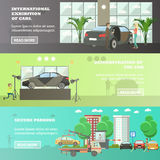 Vector set of cars horizontal banners in flat style Royalty Free Stock Images