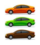 Vector set of cars Isolated on white background. Side view. Sedan. The green electric car, orange and brown auto, and. Vehicle. Transportation. 3d illustration vector illustration