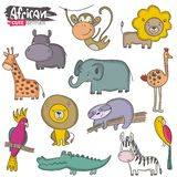 Vector set of cartoon African animals. Colorful jungle collection royalty free illustration