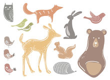 Vector set of cartoon animals and birds. Stylized forest dwellers. Collection of wild animals. Illustration for children Royalty Free Stock Photography