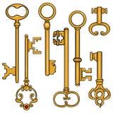 Vector Set of Cartoon Antique Keys. Royalty Free Stock Image