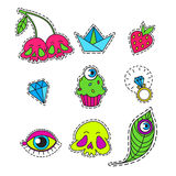 Vector set of Cartoon badge, sticker. Hand drawn set with skull,cherry,muffin,eye,diamond,engagement ring,peacock feather,strawberry,heart, boatDesign Stock Photo