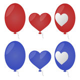 Vector set of cartoon balloons. Red and blue. Oval, heart-shaped and patterned Stock Photo