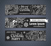 Vector set of cartoon black and white Christmas banners. Royalty Free Stock Photo