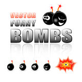 Vector set of cartoon bombs Royalty Free Stock Photography
