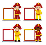 Vector set of cartoon boy fireman with frame. Stock Photo