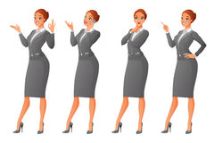 Vector set of cartoon business formal dressed woman in different poses  on white background: showing ok sign gesture, talk. Ing on phone, looking up and thinking Stock Image