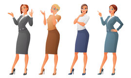 Vector set of cartoon business formal dressed women isolated on white background. Set of cartoon business formal dressed women showing ok sign gesture, talking Stock Photo