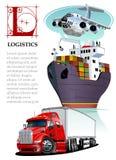 Vector set of cartoon cargo transport. Logistics mockup vector illustration