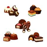Vector set of cartoon chocolate candy piles illustration. Isolated on white Royalty Free Stock Photo