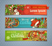 Vector set of cartoon Christmas banners. Royalty Free Stock Images