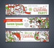 Vector set of cartoon Christmas banners. Stock Photos