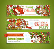 Vector set of cartoon Christmas banners. Royalty Free Stock Image