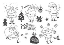 Vector set of cartoon Christmas characters and objects. Hand dra. Vector set of cute cartoon Christmas characters and objects. Hand drawn illustration of Santa Stock Photography