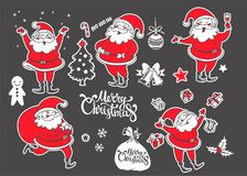 Vector set of cartoon Christmas characters and objects. Hand dra Royalty Free Stock Images