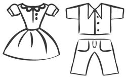 Vector set of cartoon clothes Royalty Free Stock Image