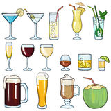 Vector Set of Cartoon Cocktails Royalty Free Stock Images