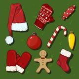 Vector Set of Cartoon Color Christmas Symbols. Clothes and Decorations. Vector Set of Cartoon Color Christmas Symbols. Clothes and Decorations on Green royalty free illustration